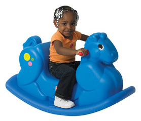 "The Children's Factory Blue Rocking Horse: 33.5"" x 14"""