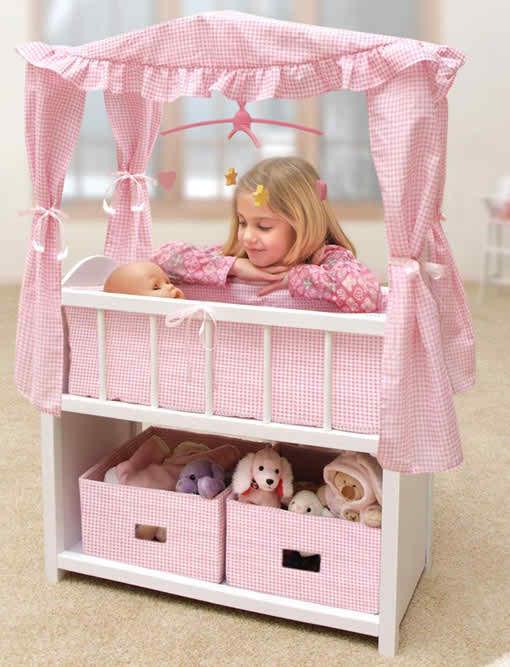 ... Badger Basket Canopy Doll Crib With Baskets, Bedding U0026 Mobile ...