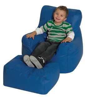 The Children's Factory Cozy Chair and Ottoman Bean Bag: Blue