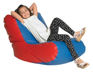The Children's Factory School Age Single High Back Lounger: Blue/Red