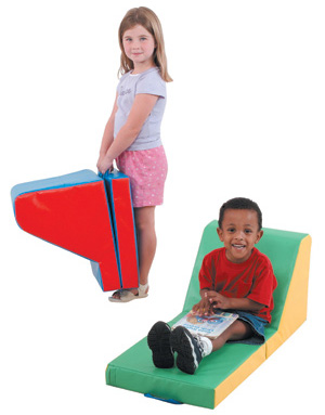 The Children's Factory Cozy Time Lounger: Blue/Red
