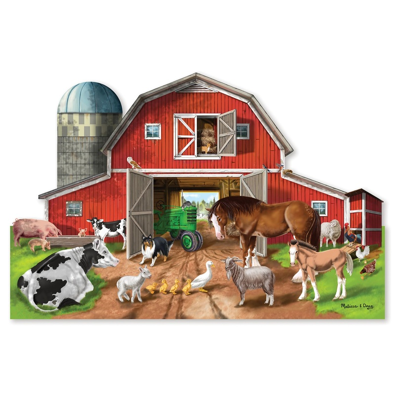 Busy Barn Yard Shaped Floor Puzzle: 3+ Years
