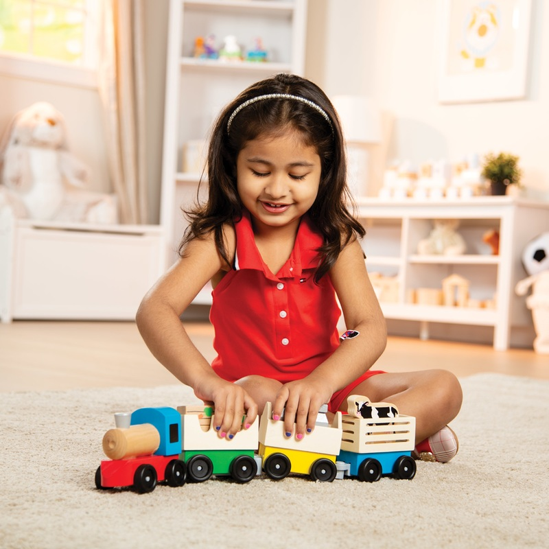 Wooden Farm Train Toy Set: 3+ Years