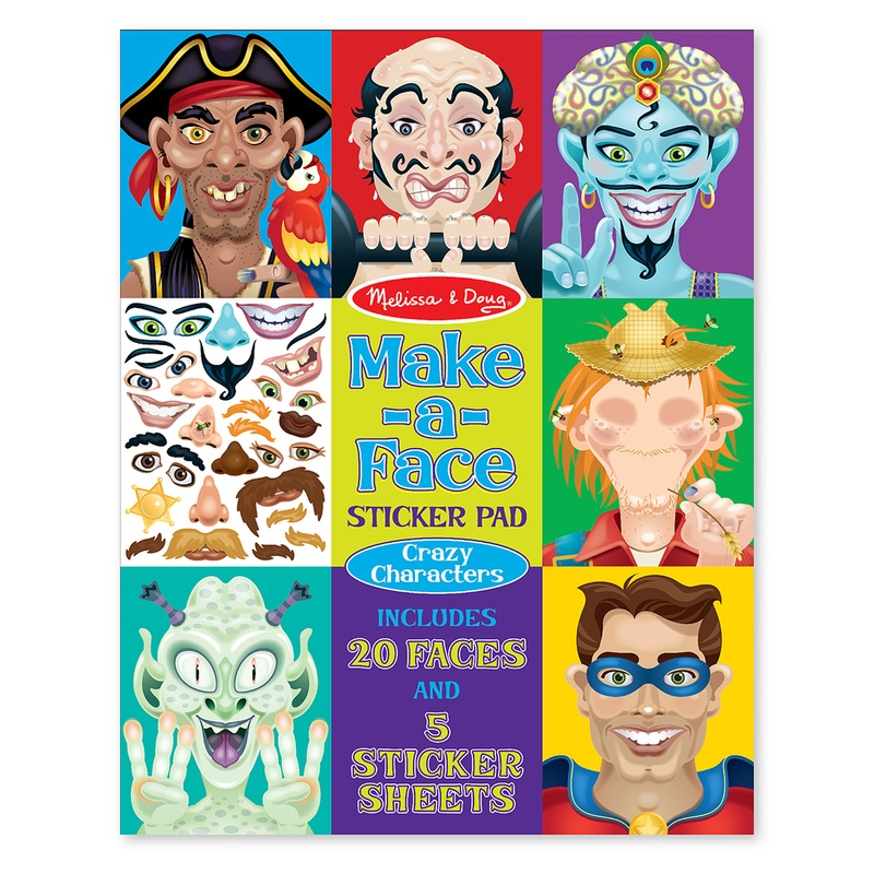 Make-A-Face Crazy Characters Stickers Pad: 4+ Years