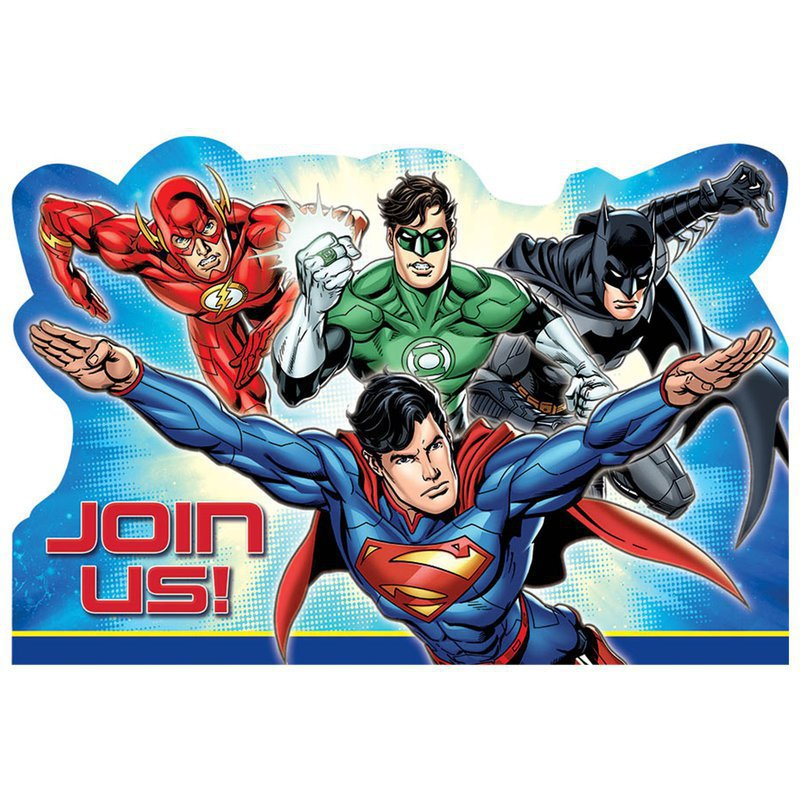 Justice League Invitations Free: Amscan Justice League Invitations (8)