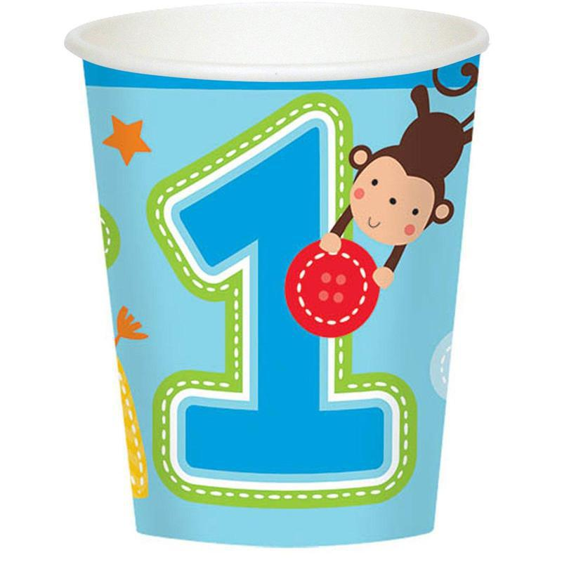 Amscan Fun at One Boy 9oz. Cups (8)