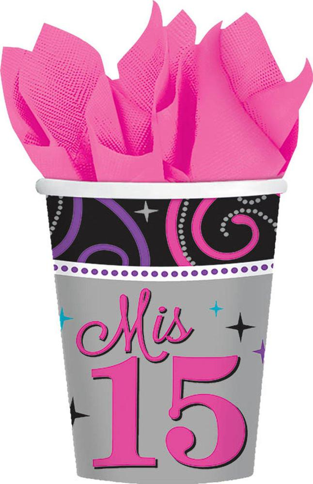 Amscan Mis Quince Anos 9oz. Cups (8)