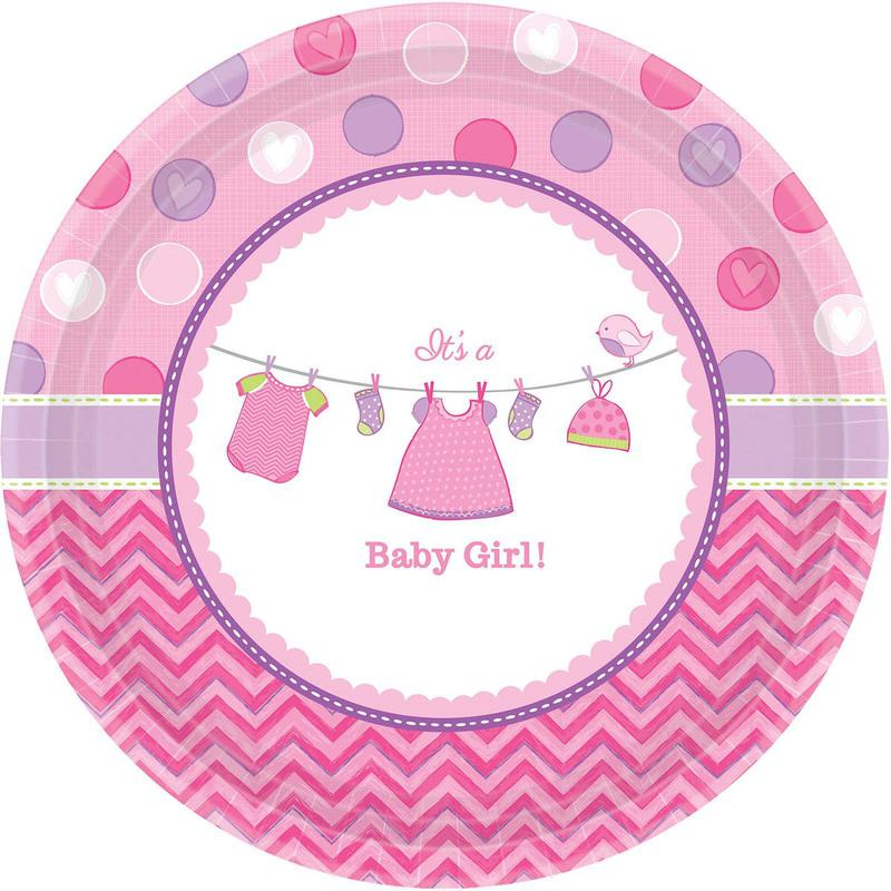 Amscan Baby Shower Girl Shower With Love Dinner Plates (8)
