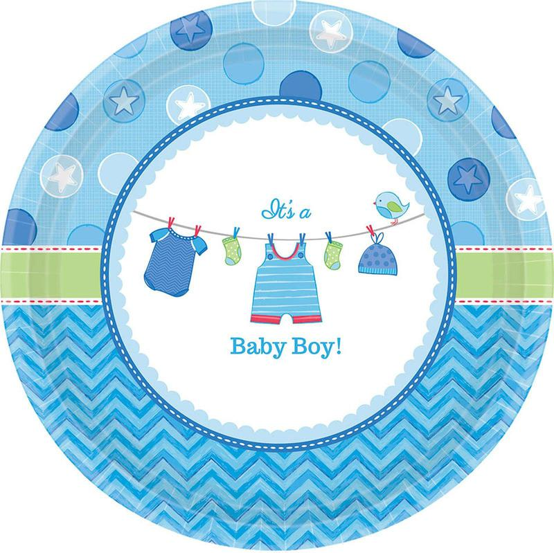Amscan Baby Shower Boy Shower With Love Dessert Plates (8)