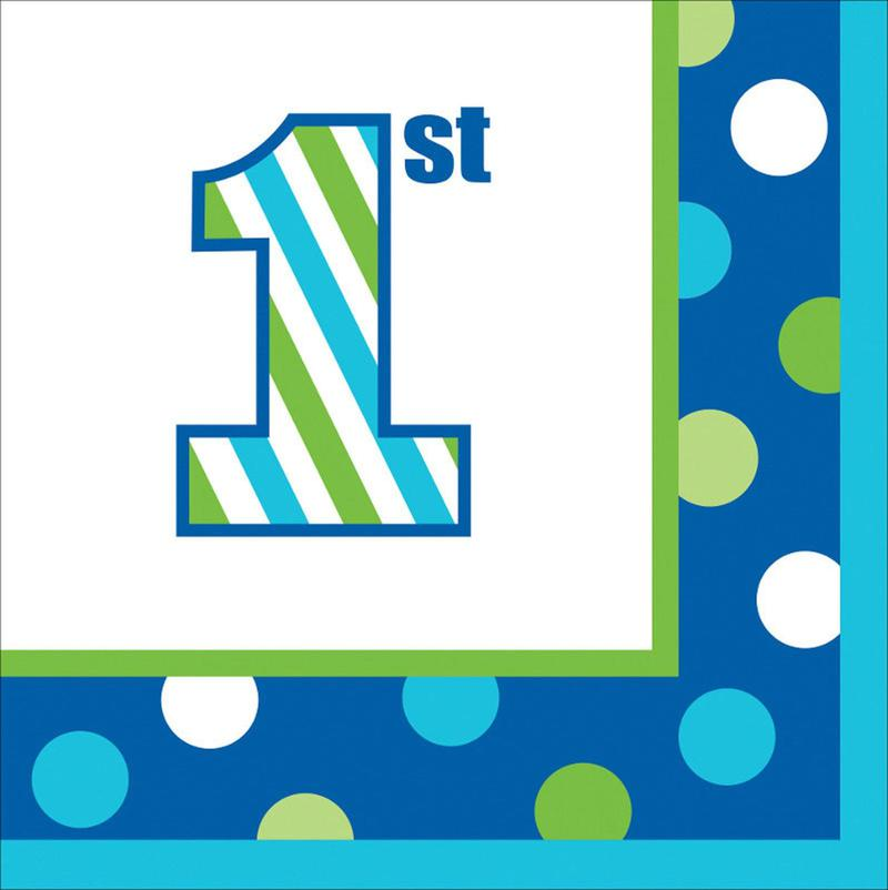 Creative Converting 1st Birthday Boy Sweet Stripes Beverage Napkins (16)