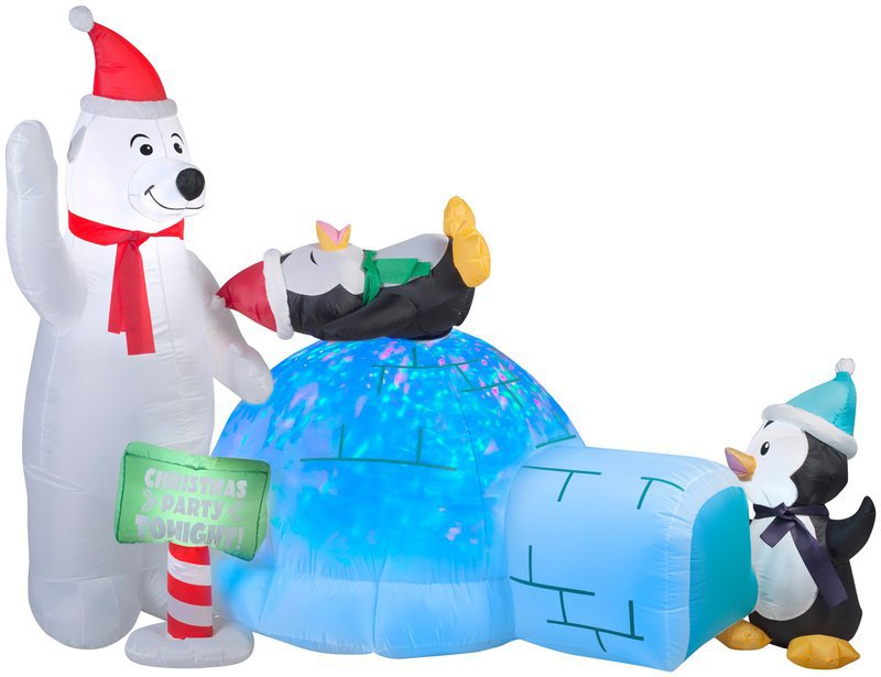 Gemmy animated projection airblown polar bear and for Animated polar bear christmas decoration