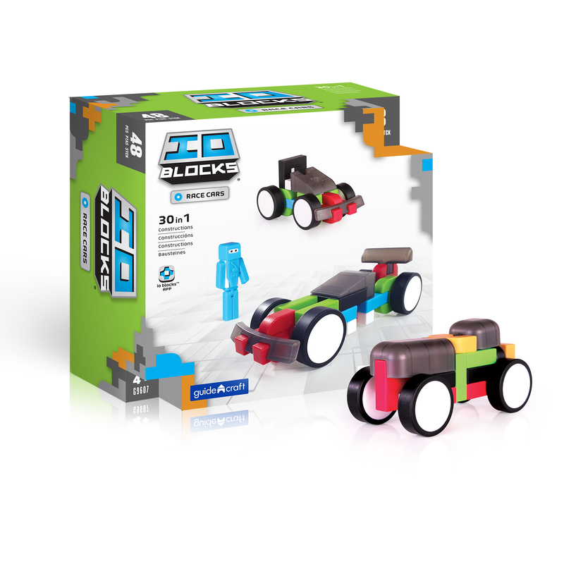 Guidecraft Guidecraft IO Blocks� Race Cars Set: 48 pieces; Comes with bumpers, spoilers, cabins, wheels and more; One IO Blocks� Hero figure; Open-ended building; STEM skill development; Secure friction fit; Tracker pad and free IO Blocks� App (G9607)