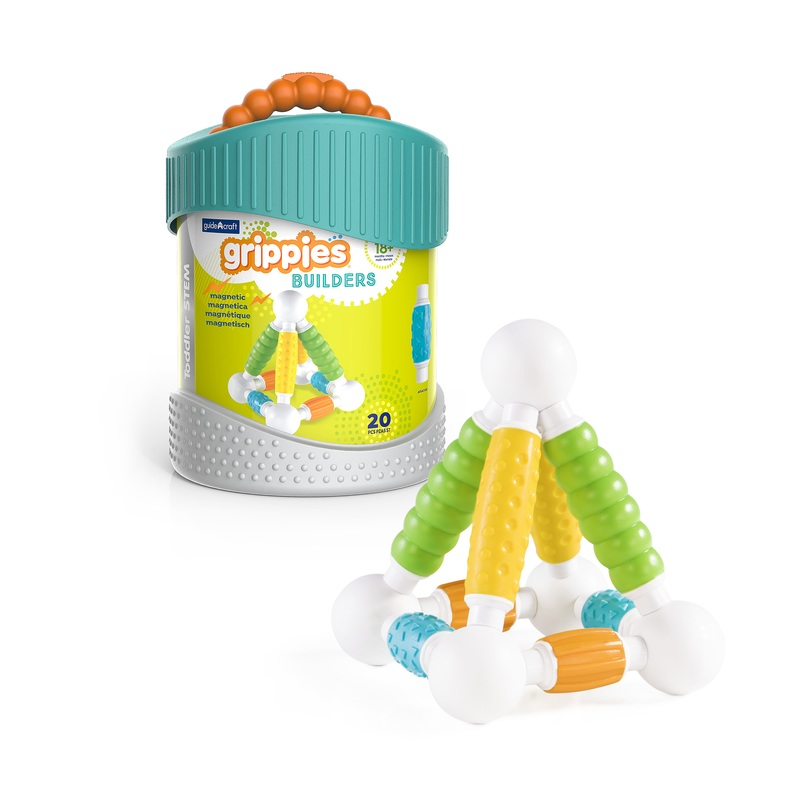 Guidecraft Guidecraft Grippies� Builders - 20 Piece Set: First STEM building toy system for toddlers; Tactile exploration; Magnetic rod and ball configuration; 20 pieces; 4 soft matte textures (G8311)