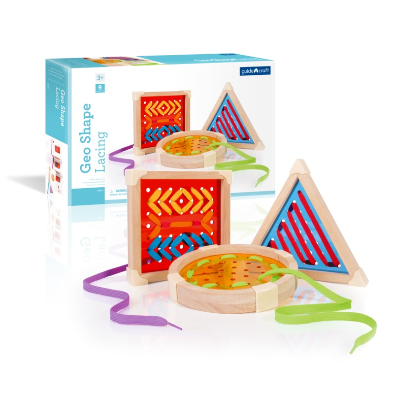 Guidecraft Guidecraft Geo Shape Lacing: 3 lacing boards and multi-colored laces; Creativity guide included; Chunky wooden frames with reinforced corners; Developing fine motor skills and hand-eye coordination (G6801)