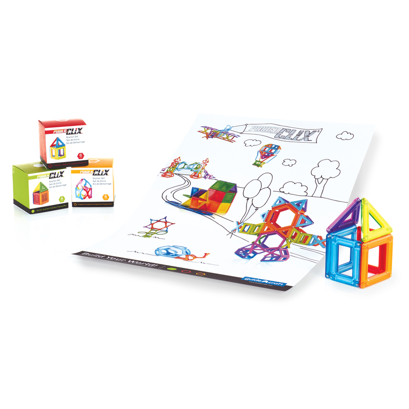 Guidecraft Guidecraft PowerClix Frames Starter Set -6pc: PowerClix, the magnetic building toy system; Six pieces of PowerClix Frames set; Fun colorful poster as an easy introduction to the PowerClix system (G9480)