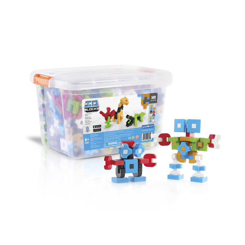 "Guidecraft Guidecraft IO Blocks 500 pc Education Set: Each set comprises 12 unique plastic shapes and features 6 colors; red, blue, green, tan, black and white., Curved elements add to the variety and encourage more fluid designs and organic themes., IO Blocks connect with a secure, yet easily adjustable friction fit and feature a beautiful matte finish to the touch., The IO Blocks scale is derived from a .5"" cube, the largest pieces measuring 1.5""W x 1.5 L x .5""D., Free IO Build App for your smartphone and tablet! (G9605)"