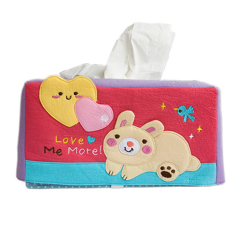 Blancho Embroidered Applique Fabric Art Tissue Box Cover Holder - Rabbit & Heart