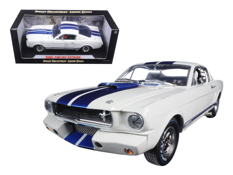 1965 Ford Shelby Mustang GT 350R White with Blue Stripes 1/18 by Shelby Collectibles