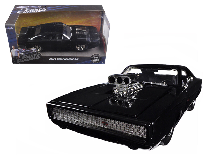 "Dom\'s 1970 Dodge Charger R/T Black ""Fast & Furious 7\"" Movie 1/24 Diecast Model Car by Jada"
