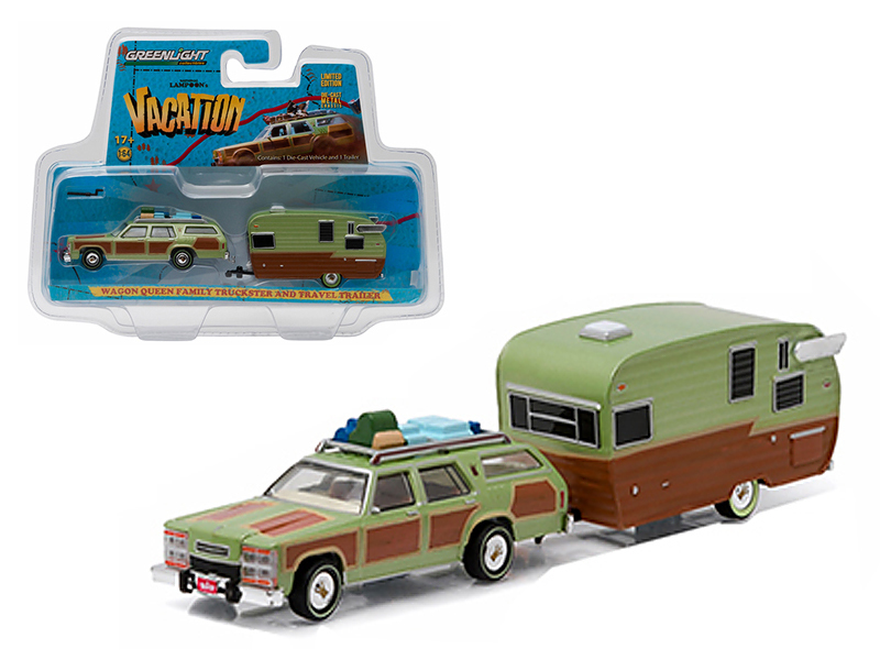 "1979 Family Truckster Wagon Queen ""National Lampoon\'s Vacation\"" (1983) with Shasta 15\' Airflyte Trailer 1/64 Diecast Model by Greenlight"