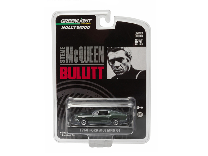 "1968 Ford Mustang GT Fastback Green Bullitt ""Steve McQueen\"" (1968) 1/64 Diecast Model Car by Greenlight"