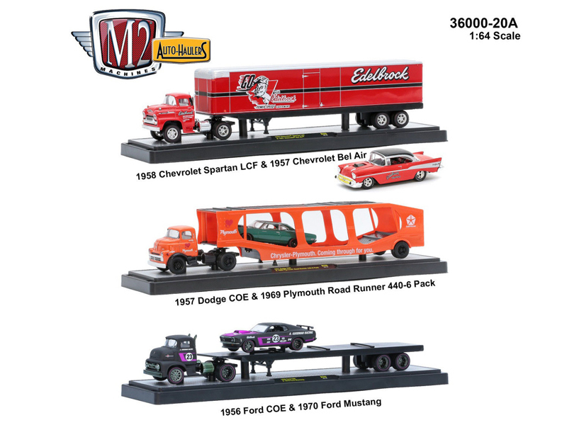 "Auto Haulers Release 20 ""A\"", 3 Trucks Set 1/64 Diecast Models by M2 Machines"