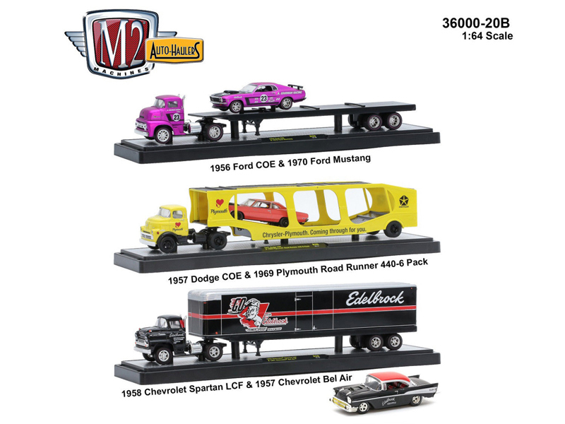 "Auto Haulers Release 20 ""B"", 3 Trucks Set 1/64 Diecast Models by M2 Machines"