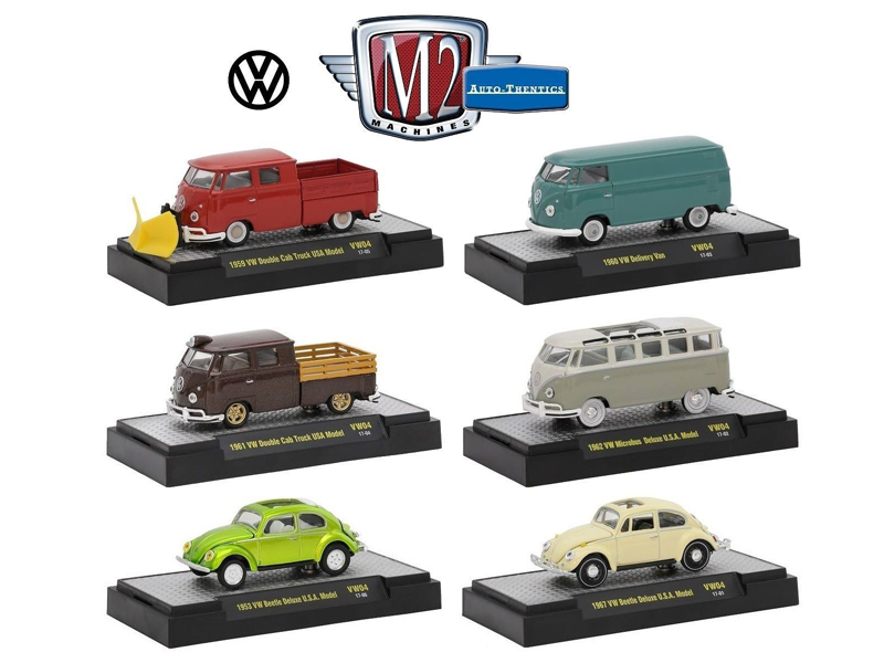 Auto Thentics Volkswagen 6 Cars Set Release 4 IN DISPLAY CASES 1/64 Diecast Model Cars by M2 Machines