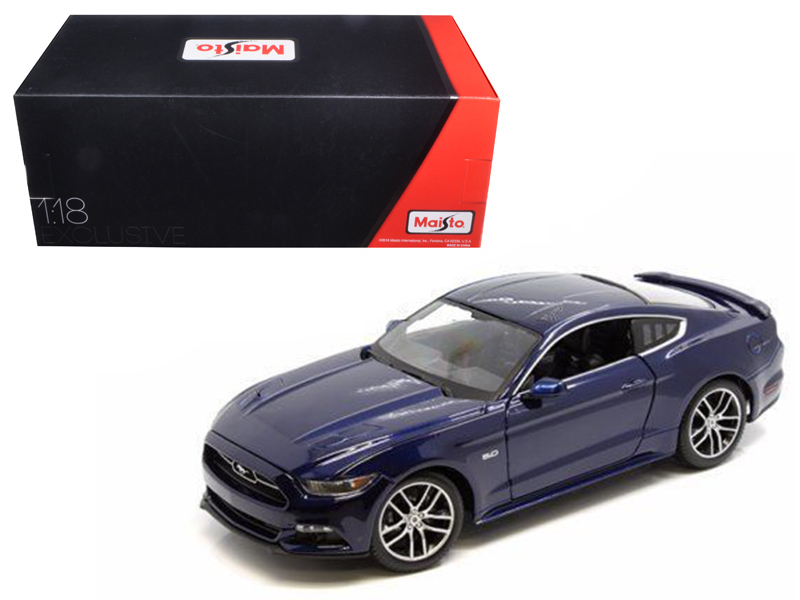 2015 Ford Mustang GT Dark Blue Exclusive Edition 1/18 Diecast Model Car  by Maisto