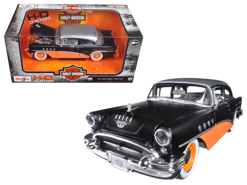 1955 Buick Century Harley Davidson Black / Orange 1/26 Diecast Model Car  by Maisto
