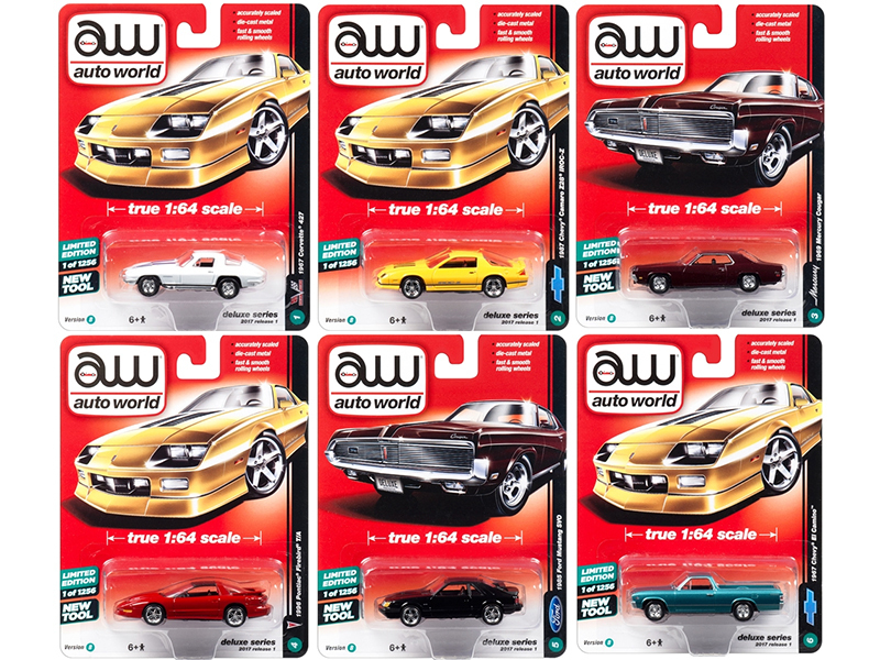 Autoworld Deluxe 2017 Release 1B Set Of 6 Cars 1/64 Diecast Model Cars by Autoworld