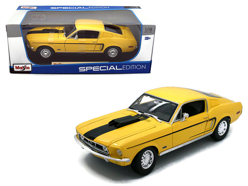 1968 Ford Mustang CJ Cobra Jet Yellow 1/18 Diecast Model by Maisto