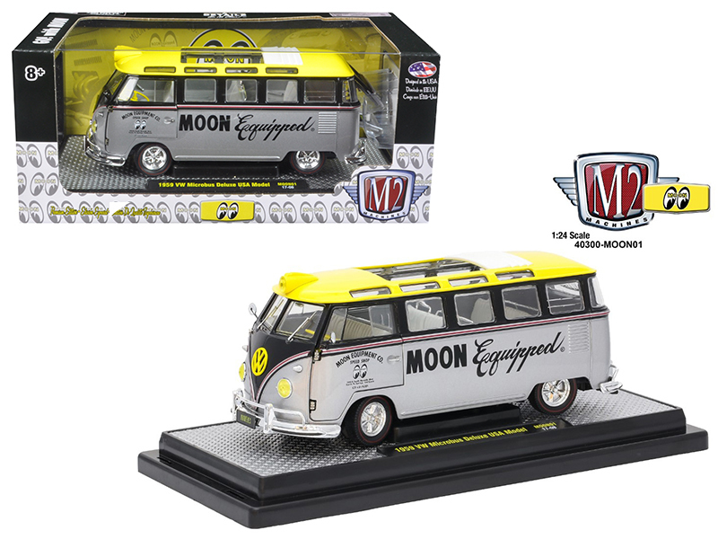 1959 Volkswagen Microbus Deluxe USA Model Mooneyes 1/24 Diecast Model Car by M2 Machines