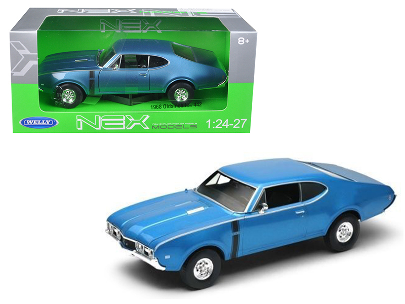 1968 Oldsmobile 442 Blue 1/24 Diecast Model Car by Welly