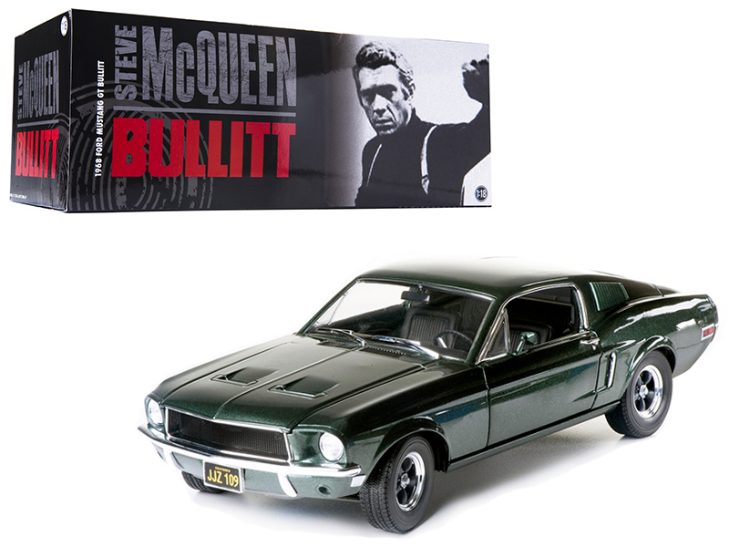 "1968 Ford Mustang GT Fastback ""Bullitt\"" Steve Mcqueen Highland Green 1/18 Diecast Car Model by Greenlight"