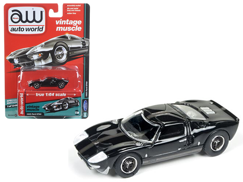 "1965 Ford GT 40 Black with Gray Stripes ""Auto World's Premium\"" 1/64 Diecast Model Car by Autoworld"