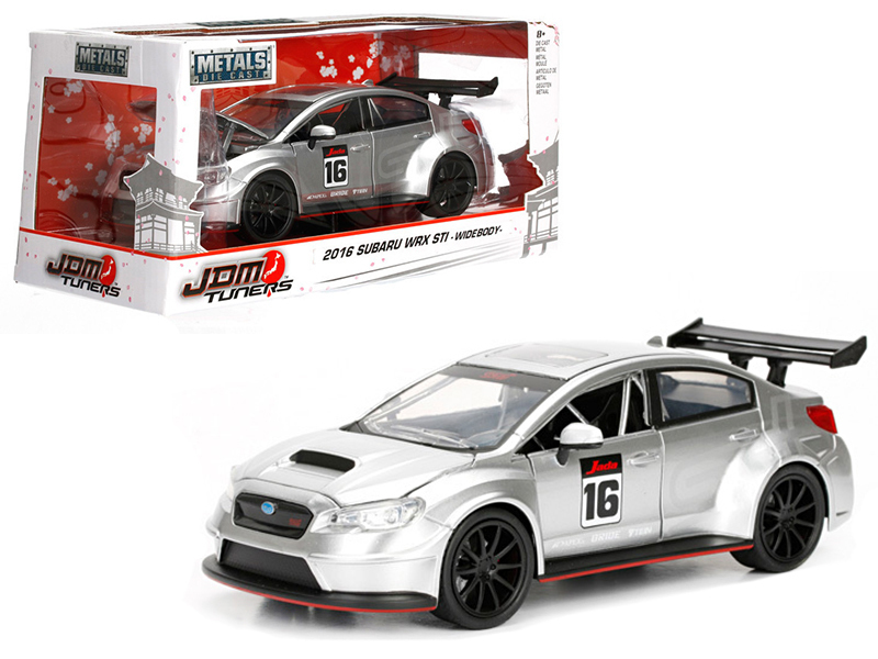 2016 Subaru WRX STI Widebody Silver #16 JDM Tuners 1/24 Diecast Model Car by Jada