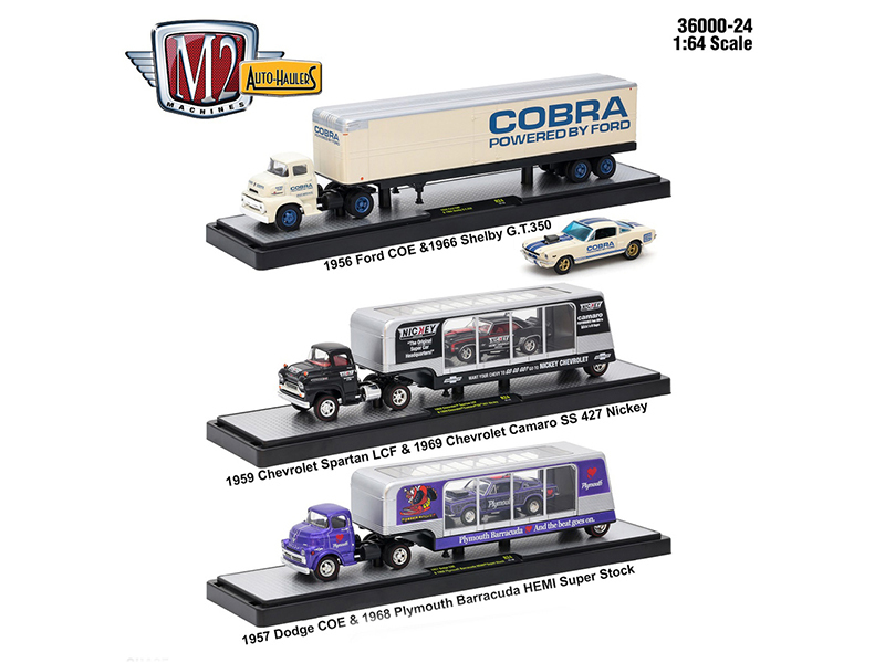 Auto Haulers Release 24, 3 Trucks Set 1/64 Diecast Models by M2 Machines