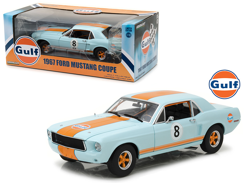 "1967 Ford Mustang Coupe ""Gulf\"" Oil #8 1/18 Diecast Model Car by Greenlight"
