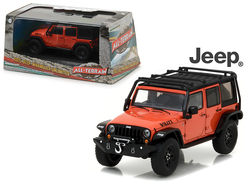 2015 Jeep Wrangler Unlimited Willy\'s Wheeler Edition Sunset Orange Metallic with Off-Road Bumpers and Roll Cage 1/43 Diecast Model Car  by Greenlight