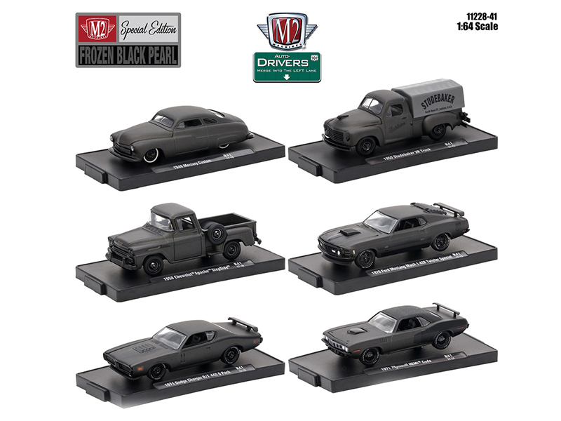 "Drivers 6 Cars Set Release 41 ""Special Edition\"" Frozen Black Pearl In Blister Packs 1/64 Diecast Model Cars by M2 Machines"
