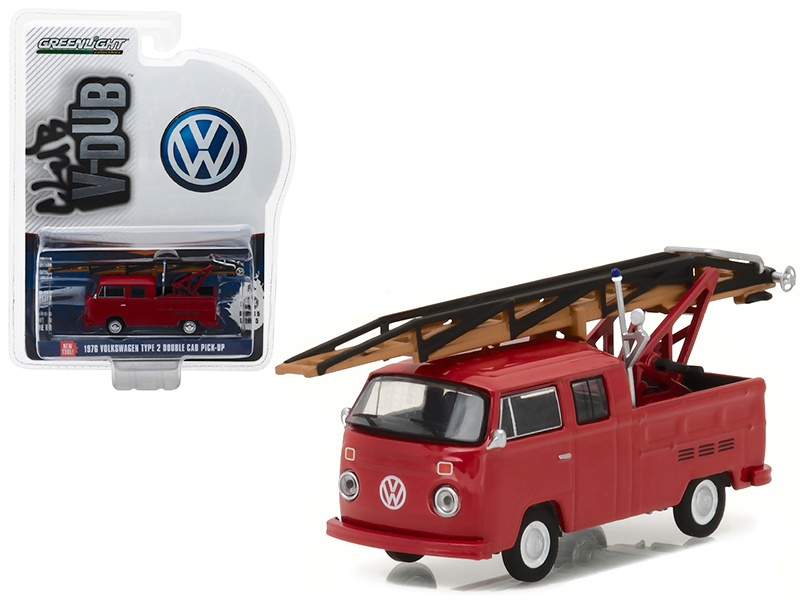 1976 Volkswagen Type 2 Double Cab Pickup Ladder Truck Series 5 Club V-Dub 1/64 Diecast Model Car by Greenlight