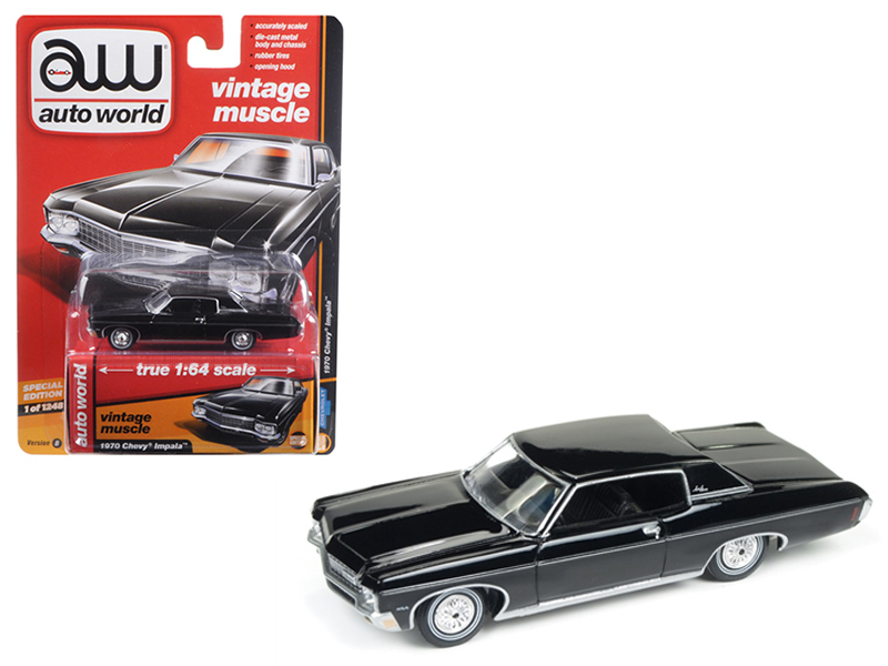 "1970 Chevrolet Impala Gloss Black ""Auto World's Premium\"" 1/64 Diecast Model Car by Autoworld"
