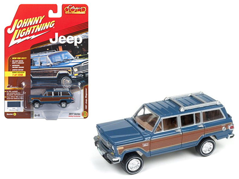 "1981 Jeep Wagoneer Mountain Blue with Wood Panel ""Johnny Lightning Classic Gold\"" Limited Edition to 1248pcs 1/64 Diecast Model Car by Johnny Lightning"
