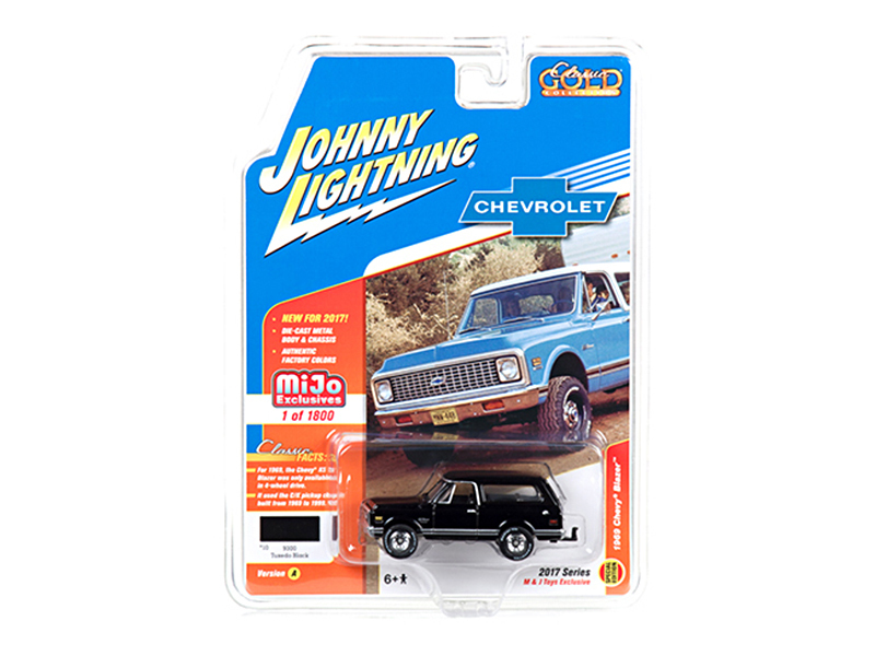 "1969 Chevrolet Blazer Black with Tow HItch ""Classic Gold\"" 1/64 Diecast Model Car by Johnny Lightning"