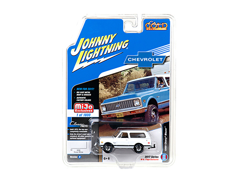 "1969 Chevrolet Blazer White with Tow HItch ""Classic Gold\"" 1/64 Diecast Model Car by Johnny Lightning"