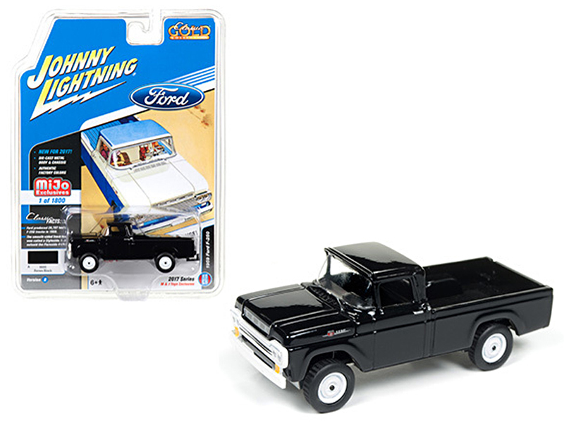 "1959 Ford F-250 Pickup Truck Black ""Classic Gold\"" 1/64 Diecast Model Car by Johnny Lightning"