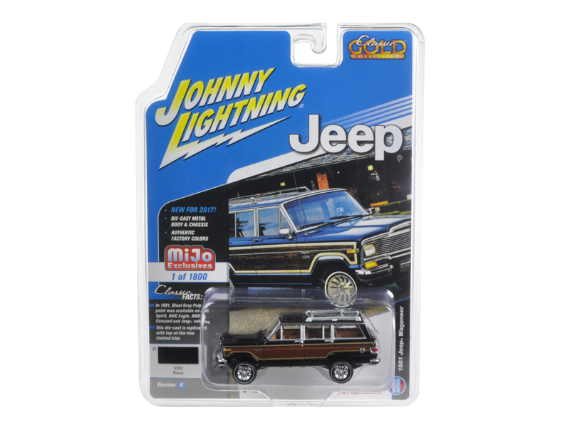 "1981 Jeep Wagoneer Black ""Classic Gold\"" 1/64 Diecast Model Car by Johnny Lightning"