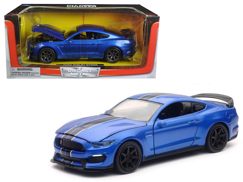2016 Ford Shelby Mustang GT350R Blue with Black Stripes 1/24 Diecast Model Car by New Ray