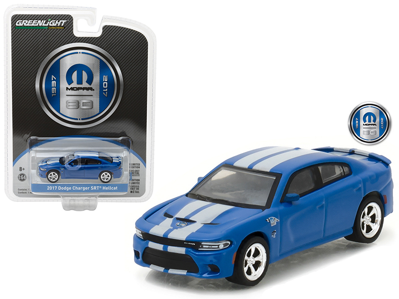 2017 Dodge Charger SRT Hellcat Blue MOPAR 80 Years Anniversary Collection Series 5 1/64 Diecast Model Car by Greenlight